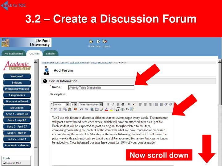 3.2 – Create a Discussion Forum