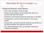 what must we do to comply cont1