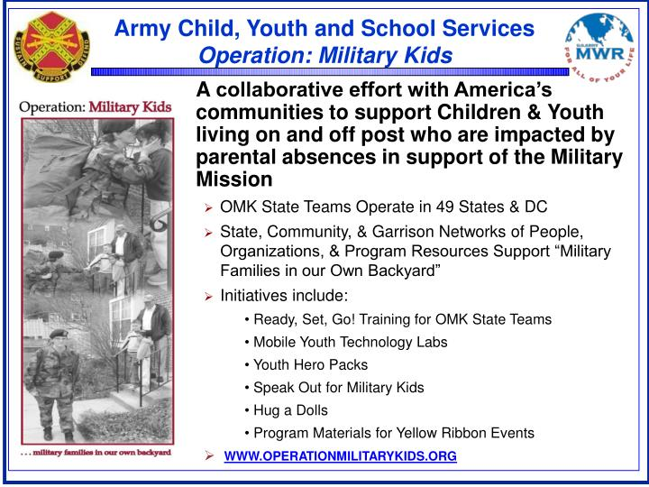 Army child youth and school services operation military kids
