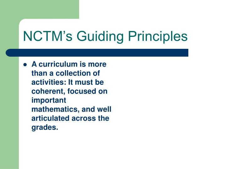 NCTM's Guiding Principles
