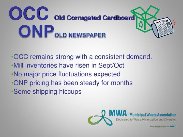 Occ old corrugated cardboard
