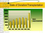 state of donation transplantation