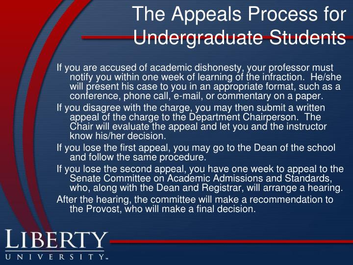 The Appeals Process for Undergraduate Students