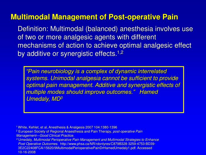 Multimodal Management of Post-operative Pain