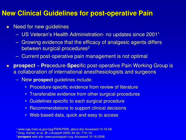 New Clinical Guidelines for post-operative Pain