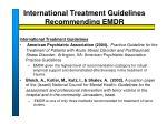 international treatment guidelines recommending emdr