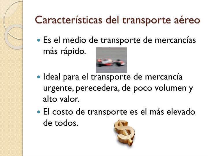Características del transporte aéreo