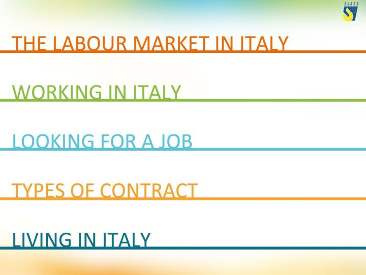 General data the italian economy employment unemployment employment per sector