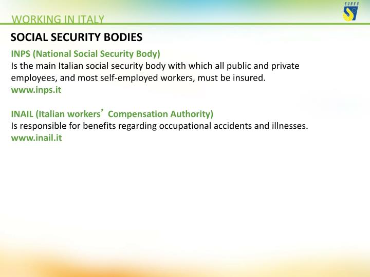 SOCIAL SECURITY BODIES