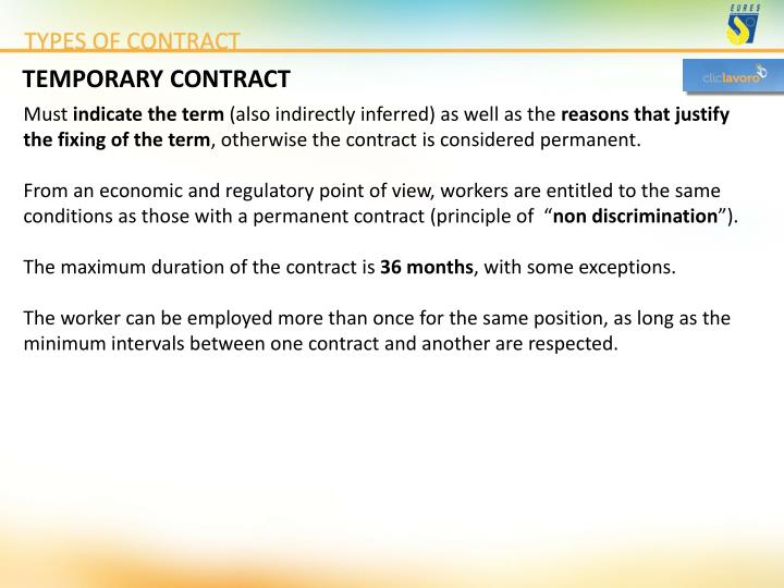 TEMPORARY CONTRACT