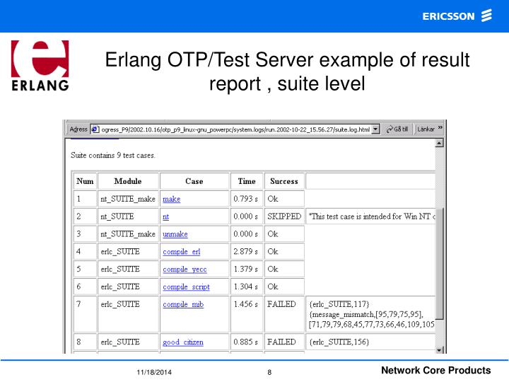 Erlang OTP/Test Server example of result report , suite level