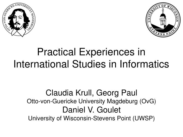 practical experiences in international studies in informatics n.