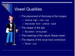 vowel qualities