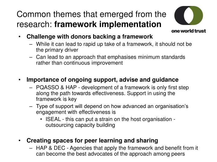 Common themes that emerged from the research: