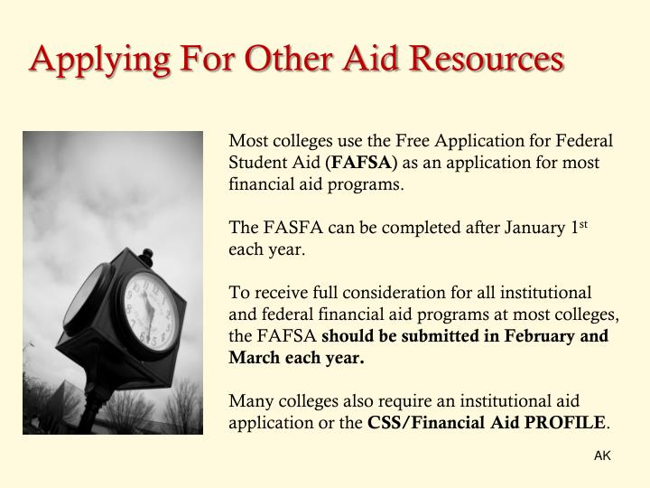 Applying For Other Aid Resources