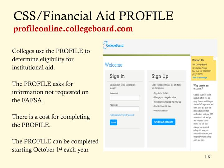 CSS/Financial Aid PROFILE