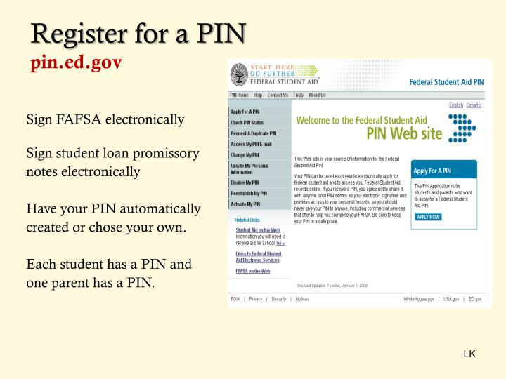 Register for a PIN