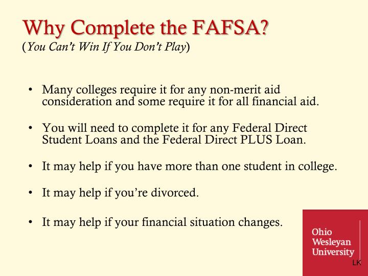 Why Complete the FAFSA?