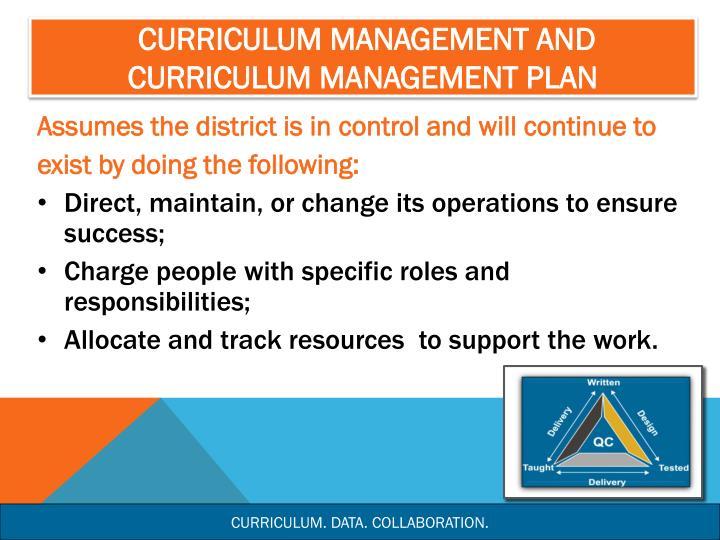 Curriculum Management and Curriculum Management Plan