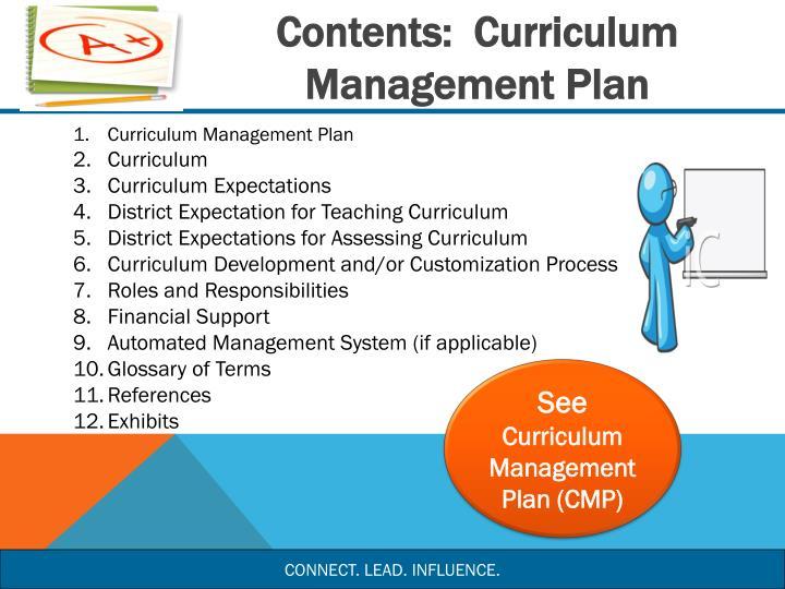 Contents:  Curriculum Management Plan