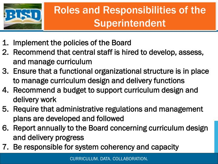 Roles and Responsibilities of the Superintendent
