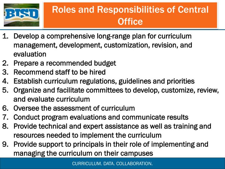 Roles and Responsibilities of Central Office