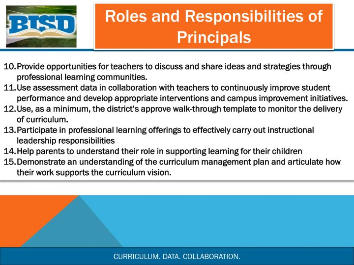 Roles and Responsibilities of Principals
