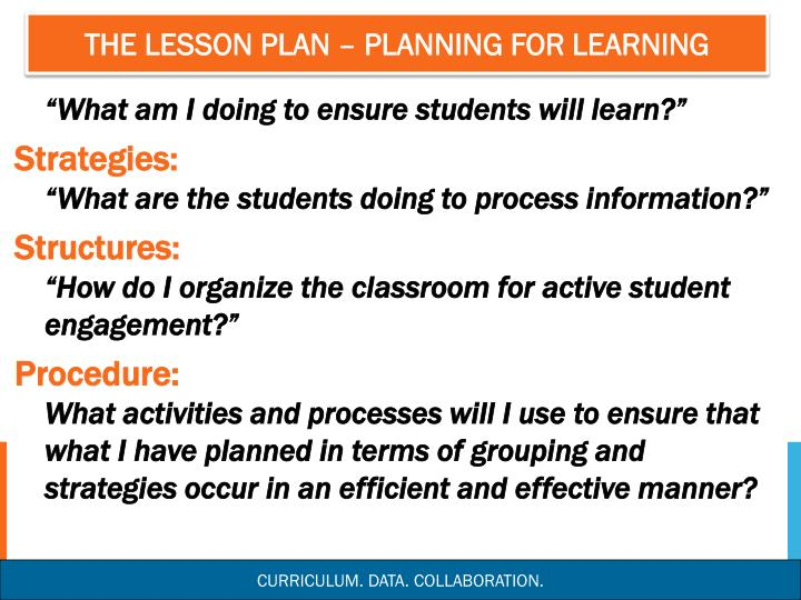 The lesson plan – planning for learning