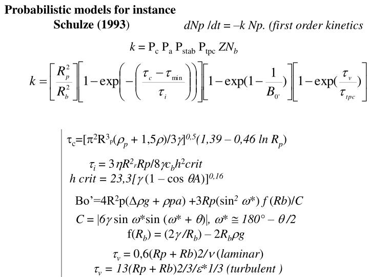 Probabilistic models for instance