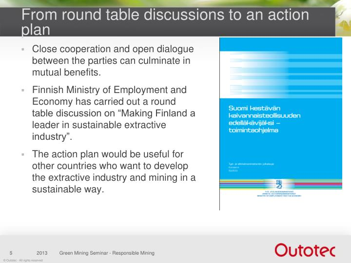From round table discussions to an action plan