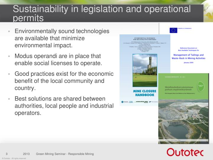 Sustainability in legislation and operational permits