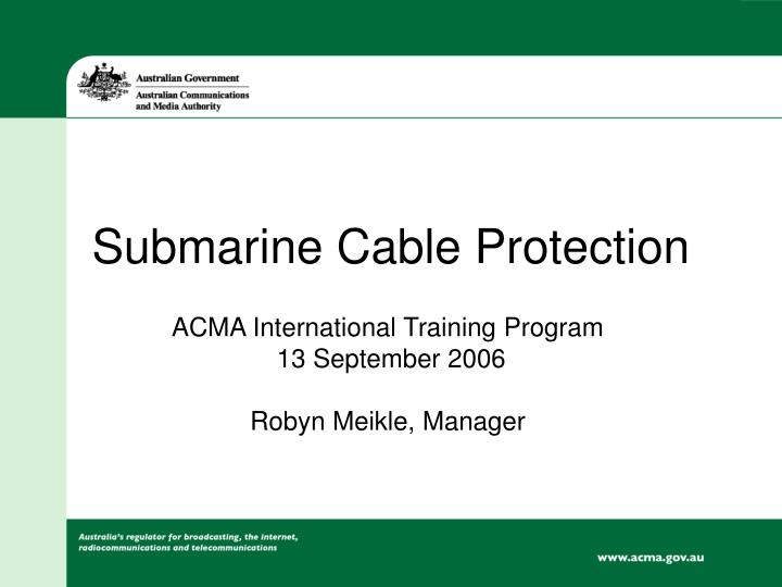 submarine cable protection n.
