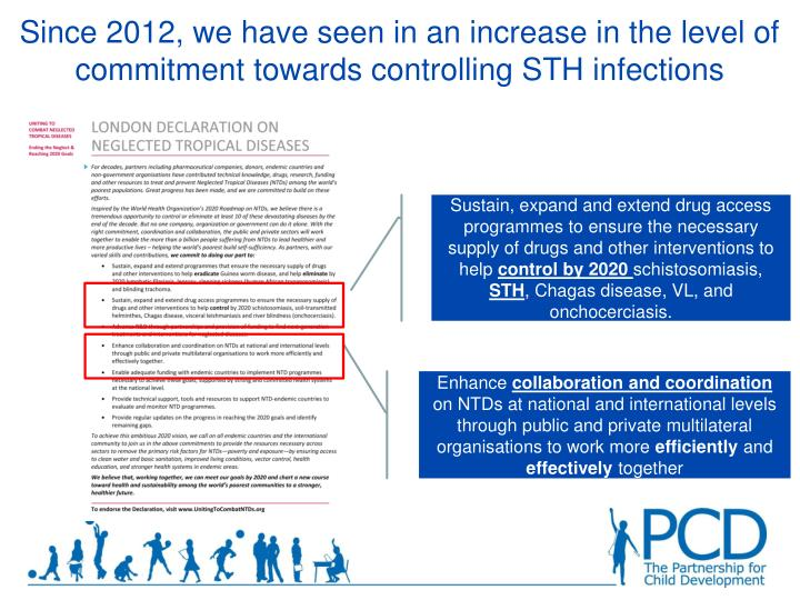 Since 2012, we have seen in an increase in the level of commitment towards controlling STH infections