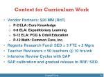 context for curriculum work