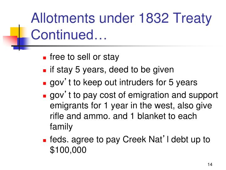 Allotments under 1832 Treaty