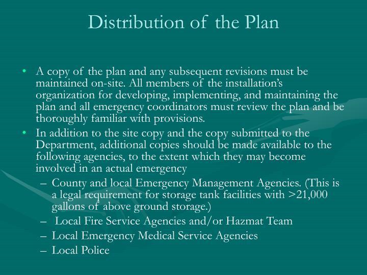 Distribution of the Plan