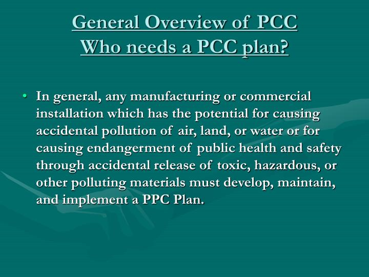 General Overview of PCC