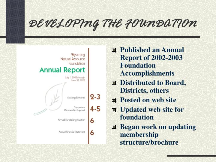 Developing the foundation