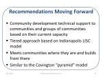 recommendations moving forward