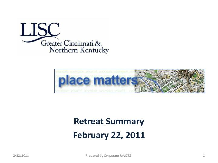 retreat summary february 22 2011