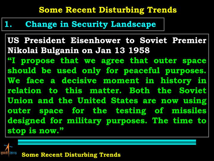 Some Recent Disturbing Trends