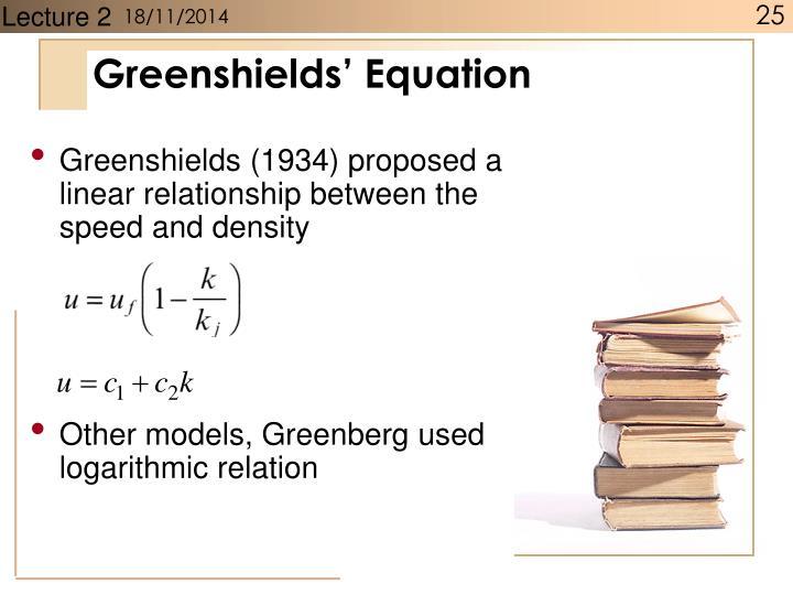 Greenshields' Equation