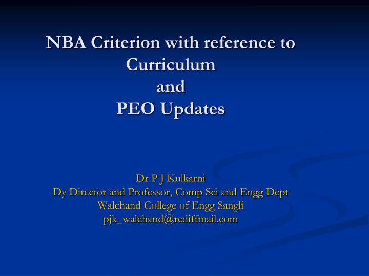 Nba criterion with reference to curriculum and peo updates
