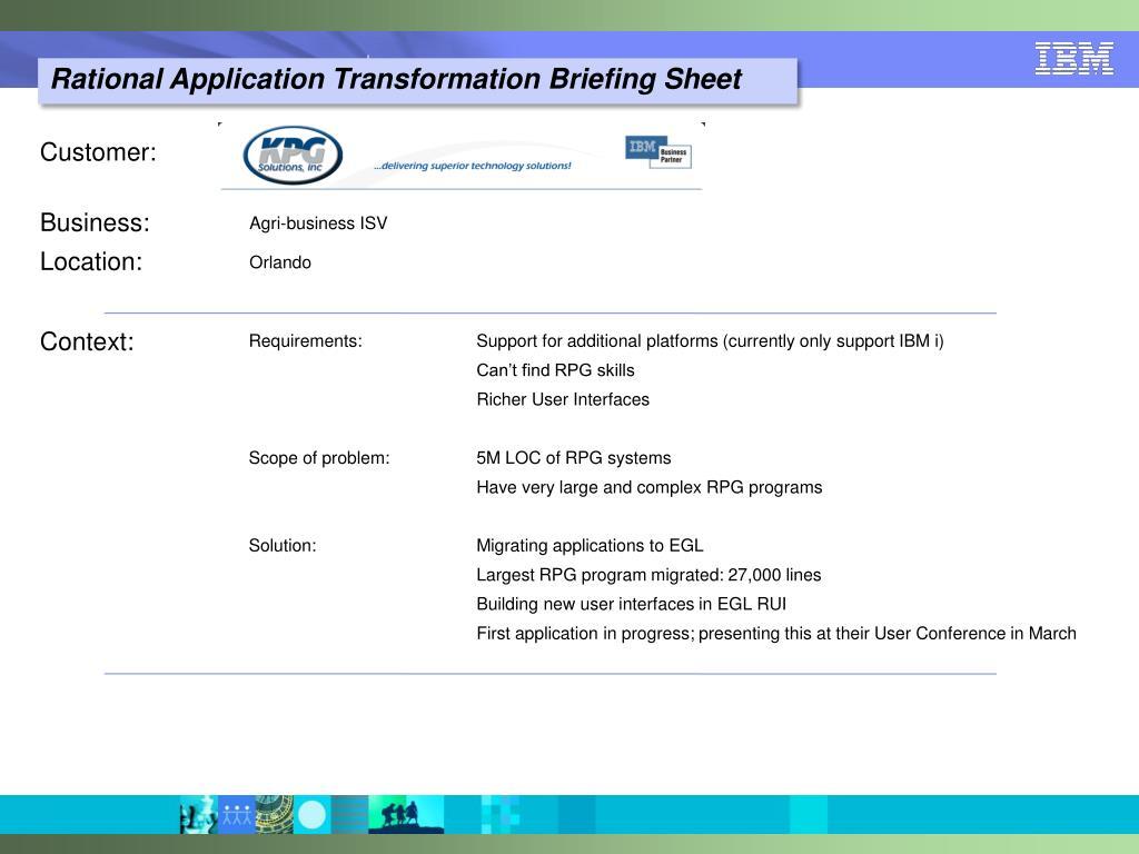 PPT - Application Modernization via migration to Rational's