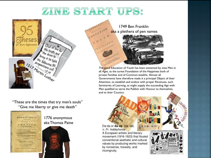 Zine start ups