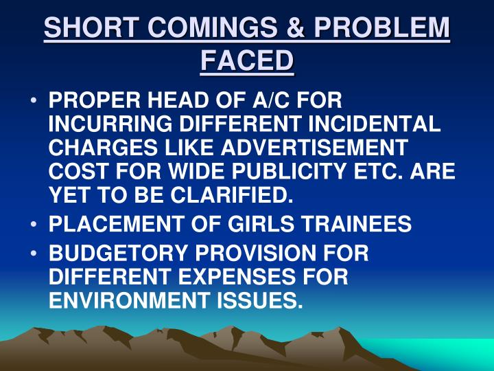 SHORT COMINGS & PROBLEM FACED