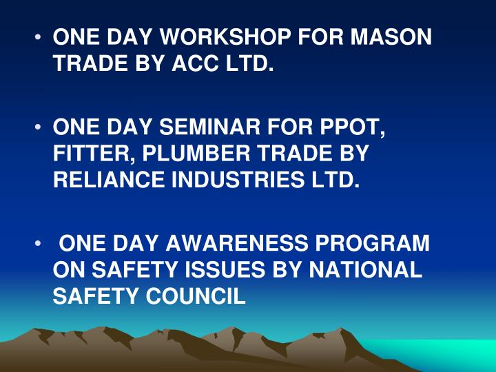 ONE DAY WORKSHOP FOR MASON TRADE BY ACC LTD.