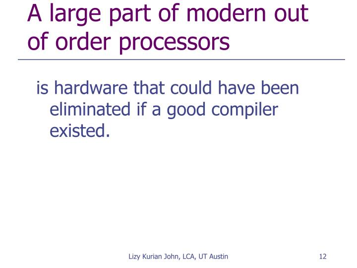 A large part of modern out of order processors