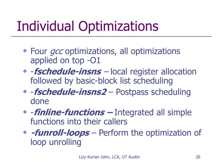 Individual Optimizations