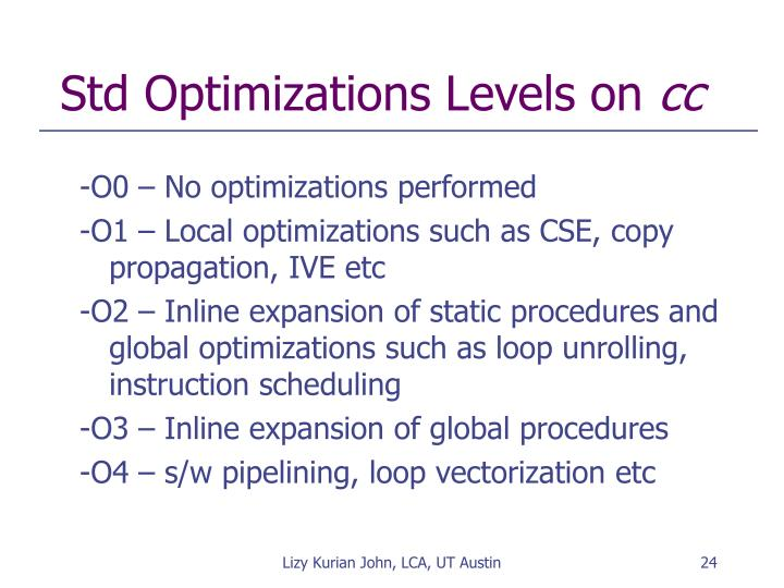 Std Optimizations Levels on
